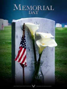 memorial day 2020 picture of tombstone with orchids and flag