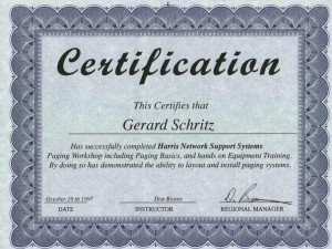 Overhead Loudspeaker Paging Systems Installation & Repair Certification