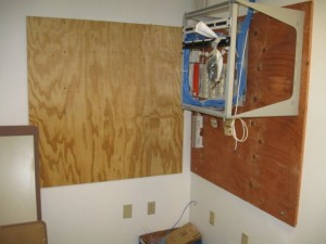 Wallfield space for phone system, voice and data wiring.