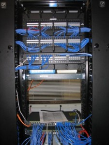 Data Rack with Patch Panels and Cable Management