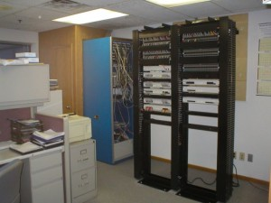 Racks Housing an Avaya IP Office Phone System